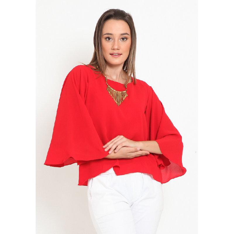 Agatha Batwing Sleeve Casual Blouse Red