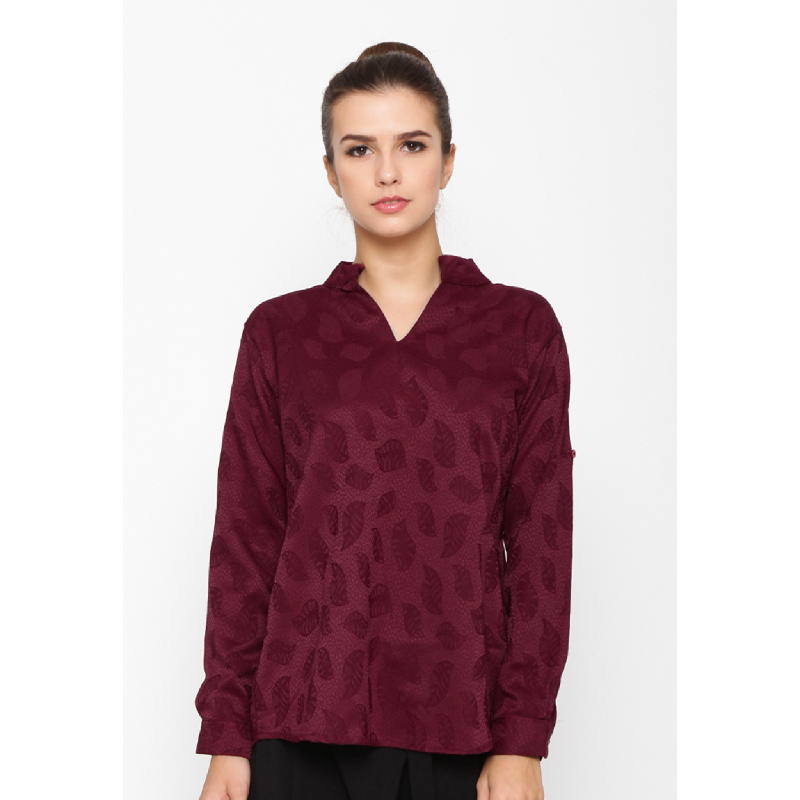 Wulfenii Red Jacquard Blouse Pasley Leaf Top