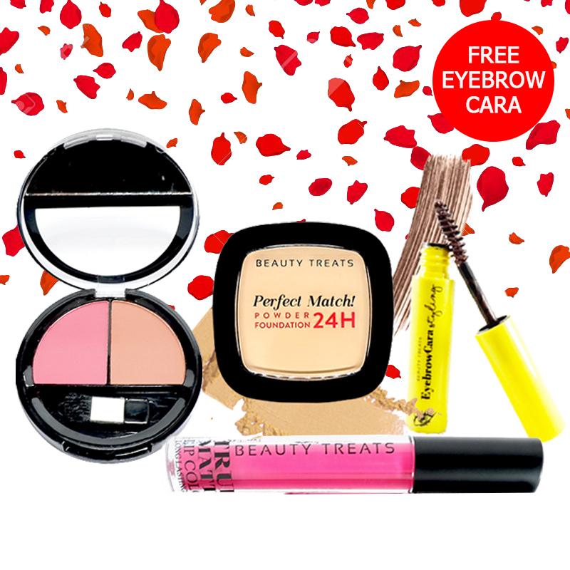 Beauty Treats Make Up Set A (Perfect Match Powder Foundation 24H No. 1 + True Matte Lip Color No. 1 + Duo Blush No. 2) FREE Eyebrowcara Dark Brown