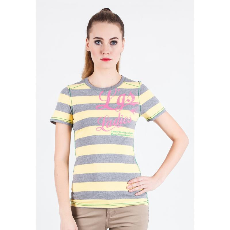 Slim Fit Ladies T-Shirt Yellow/Gray Striped
