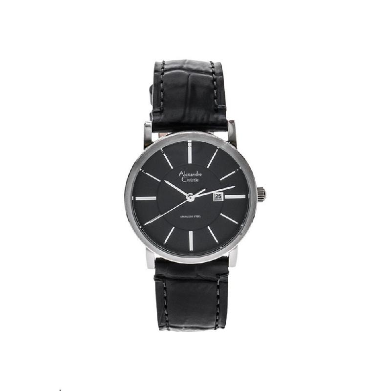 Alexandre Christie AC 8344 LDLSSBA Women Watch Leather Strap Silver Black