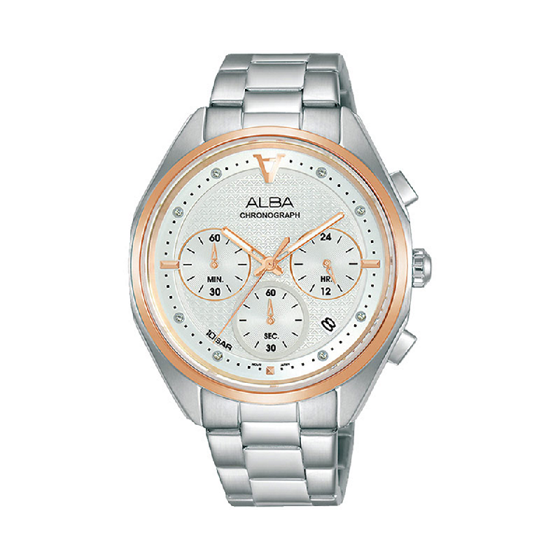 Alba AT3G90X1 Men Silver Patterned Dial Stainless Steel Strap