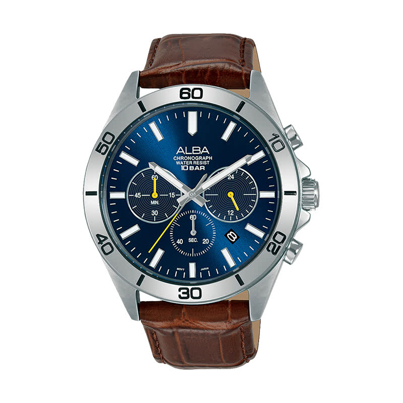 Alba Active AT3H31X1 Chronograph Men Blue Dial Brown Leather Strap
