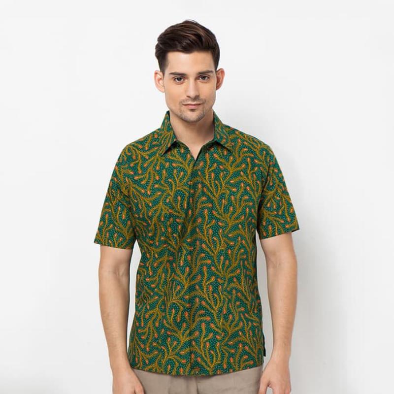 Asana Batik Slim Fit Short Sleeve SSSFD110GRN Green