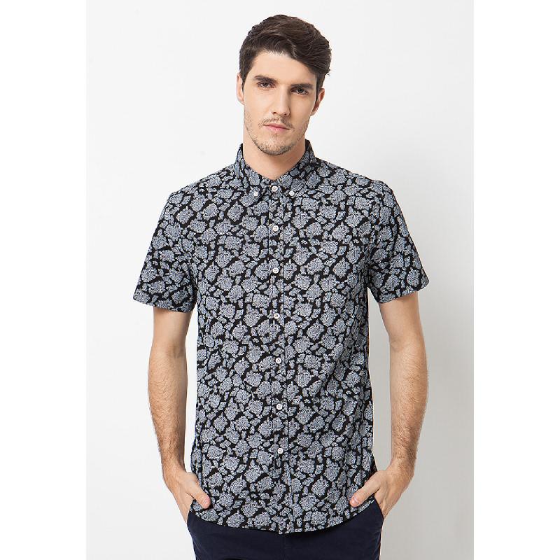 Minarno Black Paisley Print 04 Short Sleeves Shirt