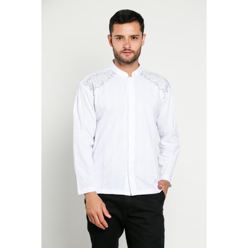 Aitana Baju Koko Pria Bordir YN-11720-LS Putih