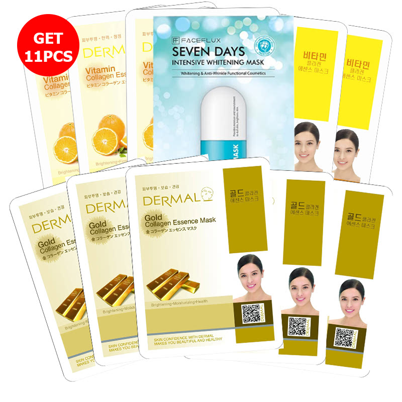 Buy 5 Dermal Vitamin Collagen Essence Mask Get 5 Dermal Gold Collagen Essence Mask Free Seven Days Face Flux