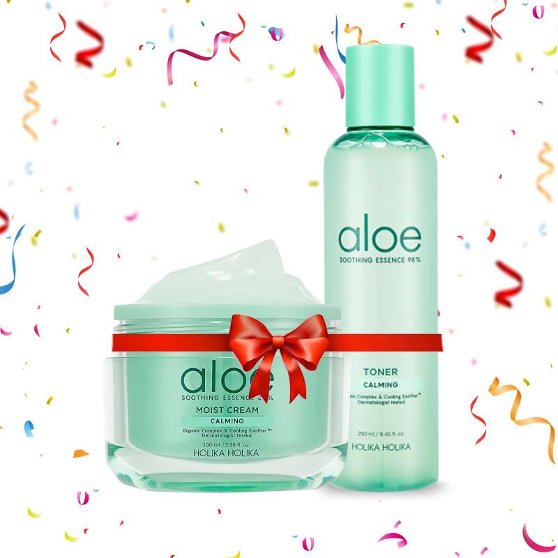 Holika Holika Aloe Soothing Essence 80% Moist Cream 100ml + 98% Toner 250ml