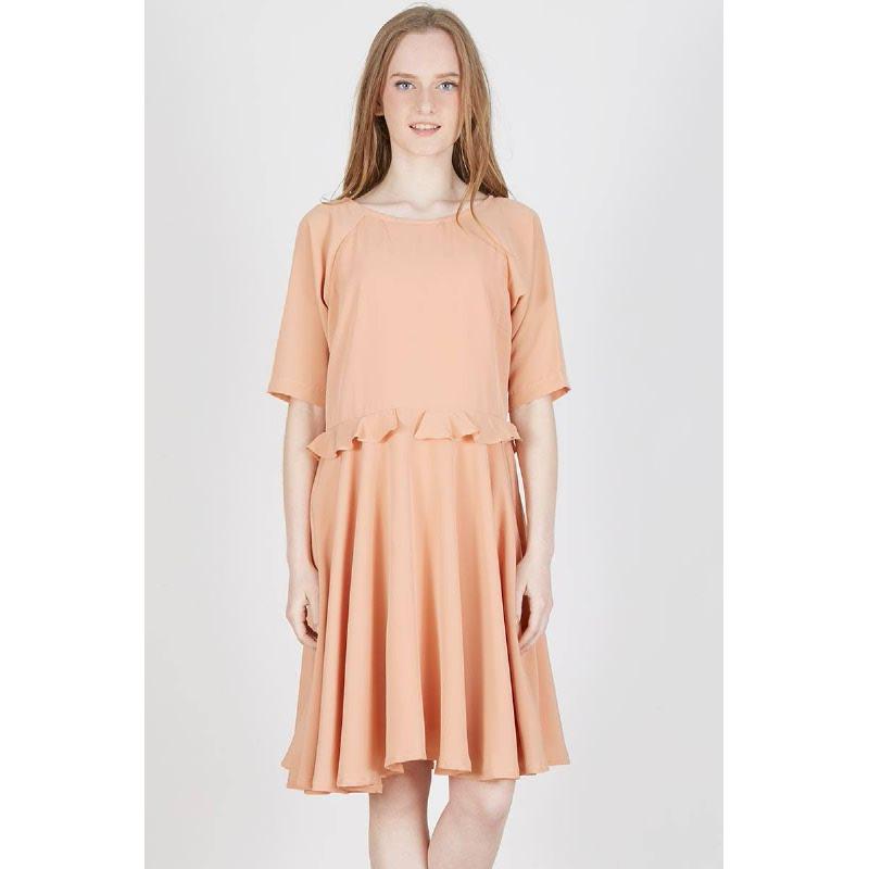 Paola Frill Raglan Dress Peach
