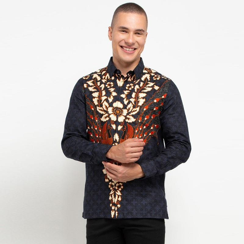 Arthesian Kemeja Batik Pria Luis Batik Printing Blue Navy