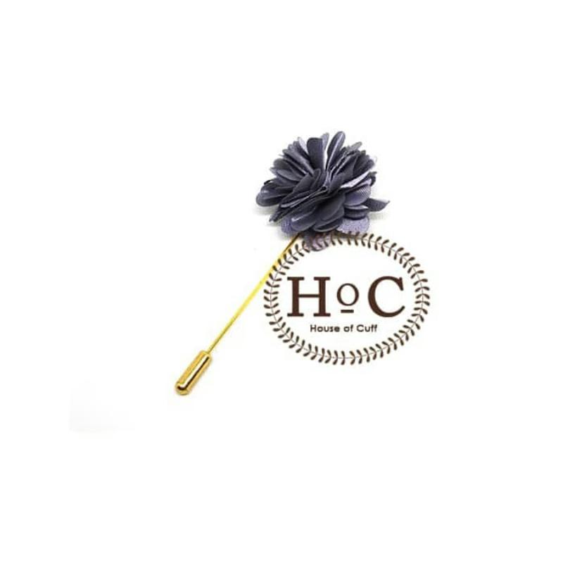 House Of Cuff Korsase Bunga Corsage Brooch Jas Dark Grey Flower Lapelpin