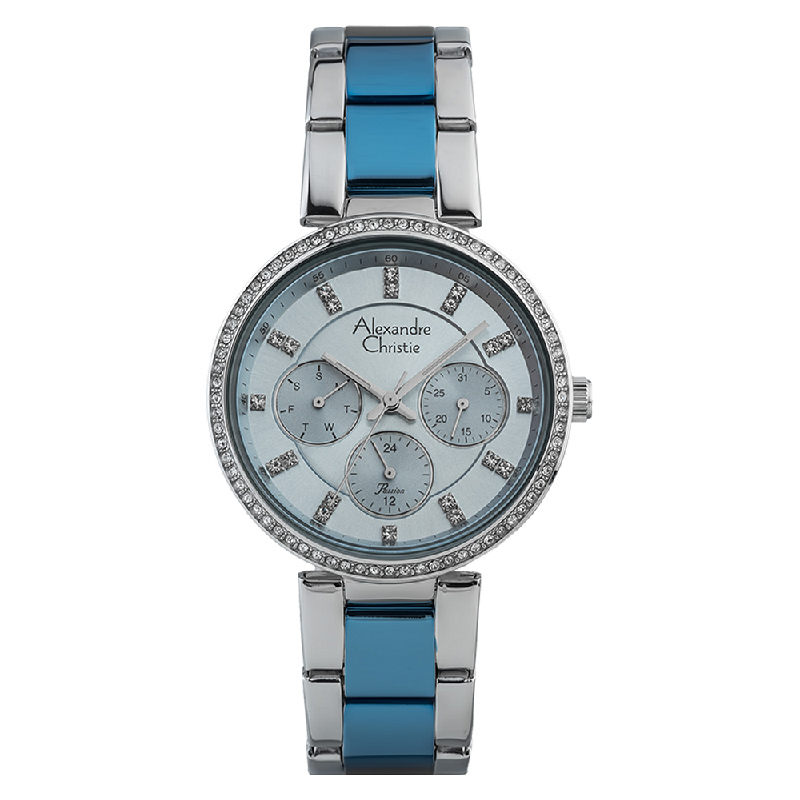 Alexandre Christie Passion AC 2874 BF BTUBU Ladies Light Blue Dial Dual Tone Stainless Steel Strap