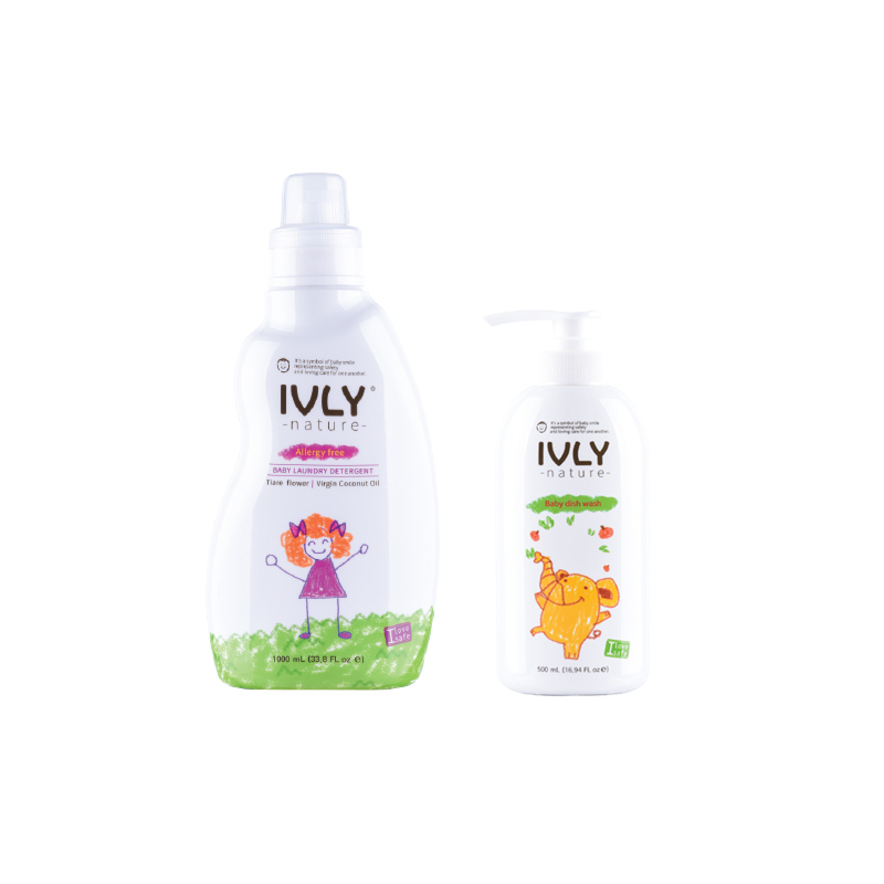 Ivly Nature - Baby Laundry Detergent Tiare Flower & Virgin Coconut Oil 1000ml + Baby Dishwash 500ml