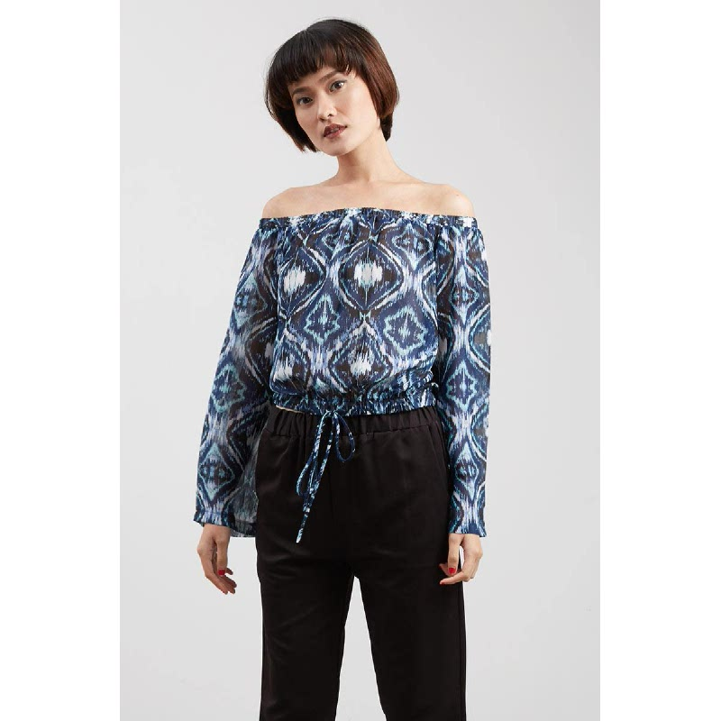 Vanya Off Shoulder Blouse Blue