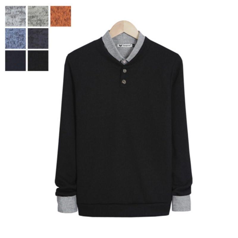 LW_Two Button Bokashi Henley Neck Knit - Black
