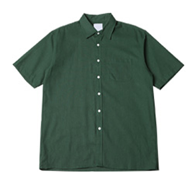 [BJ2645]Boxy 8 Color Linen Short Sleeve Shirt - Green