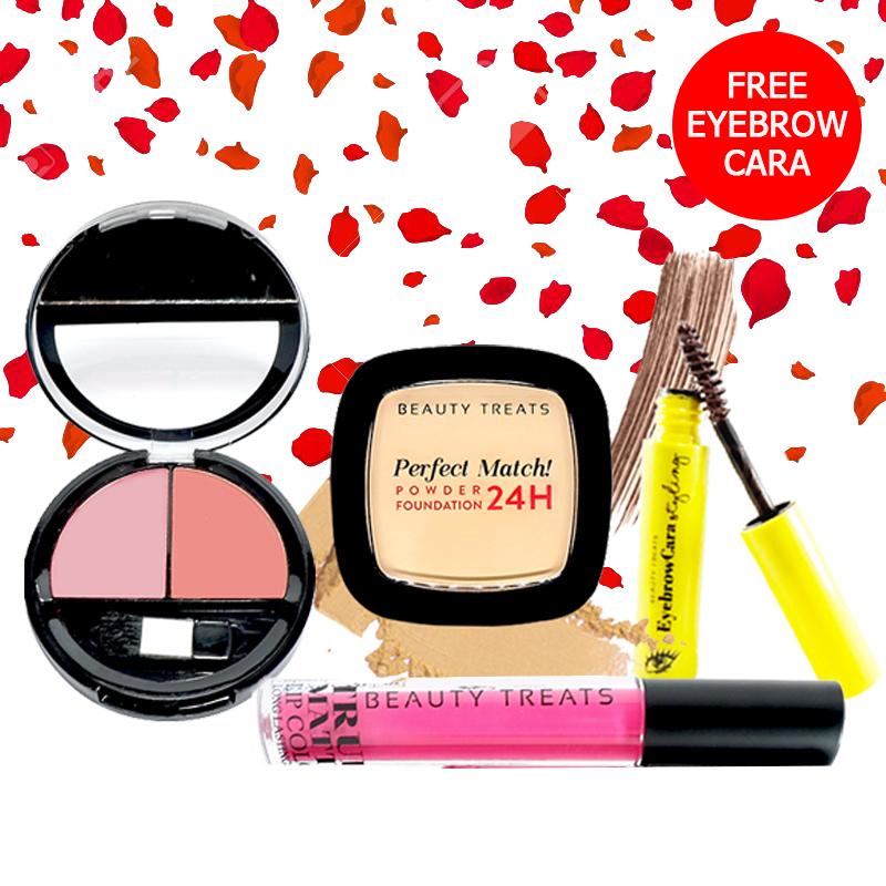 Beauty Treats Make Up Set A (Perfect Match Powder Foundation 24H No. 1 + True Matte Lip Color No. 1 + Duo Blush No. 1) FREE Eyebrowcara Dark Brown