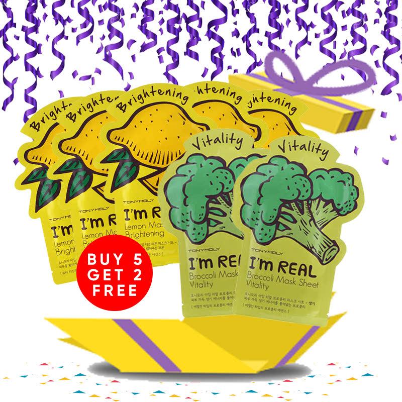 Tony Moly Bundle 5pcs I Am Real Lemon Mask Sheet Brightening + 2pcs Brokolli Mask Sheet Vitality