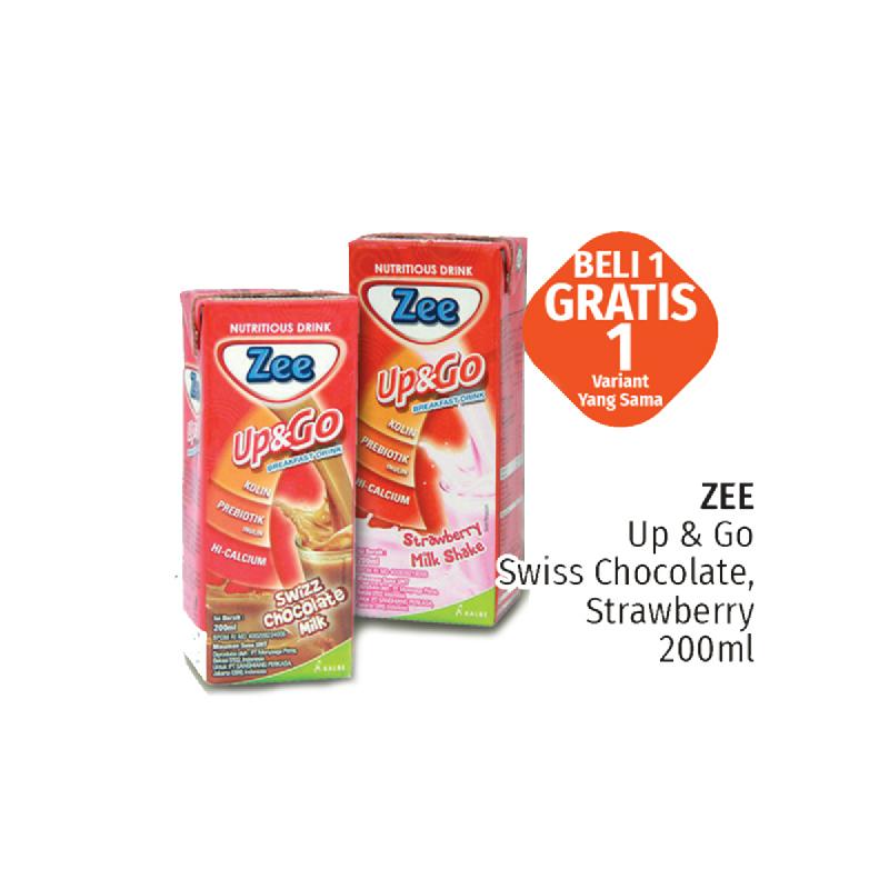 Zee Up&Go Swiss Strawberry Milk Tp 200Ml (Buy 1 Get1 )