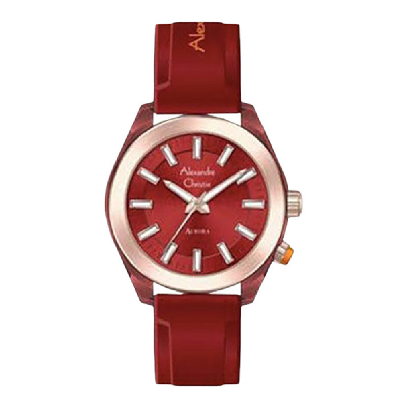Alexandre Christie AuroraAC 2928 LHRRGRE Ladies Red Dial Red Rubber Strap