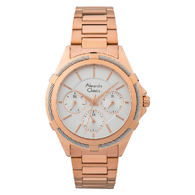Alexandre Christie AC 2841 BF BRGSL Silver Dial Rose Gold Stainless Steel Strap