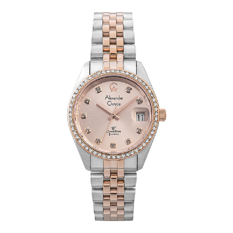 Alexandre Christie Classic Steel AC 5012 LD BTRLN Ladies Rose Gold Dial Dual Tone Stainless Steel