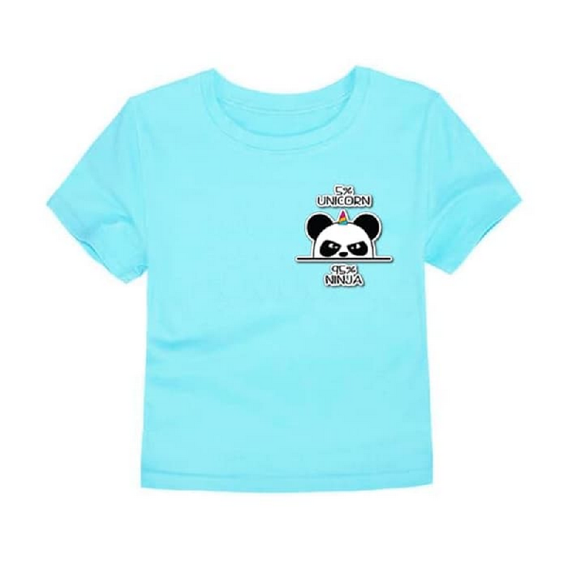 Little Fresco - Kaos Anak Panda Biru Muda Light Blue