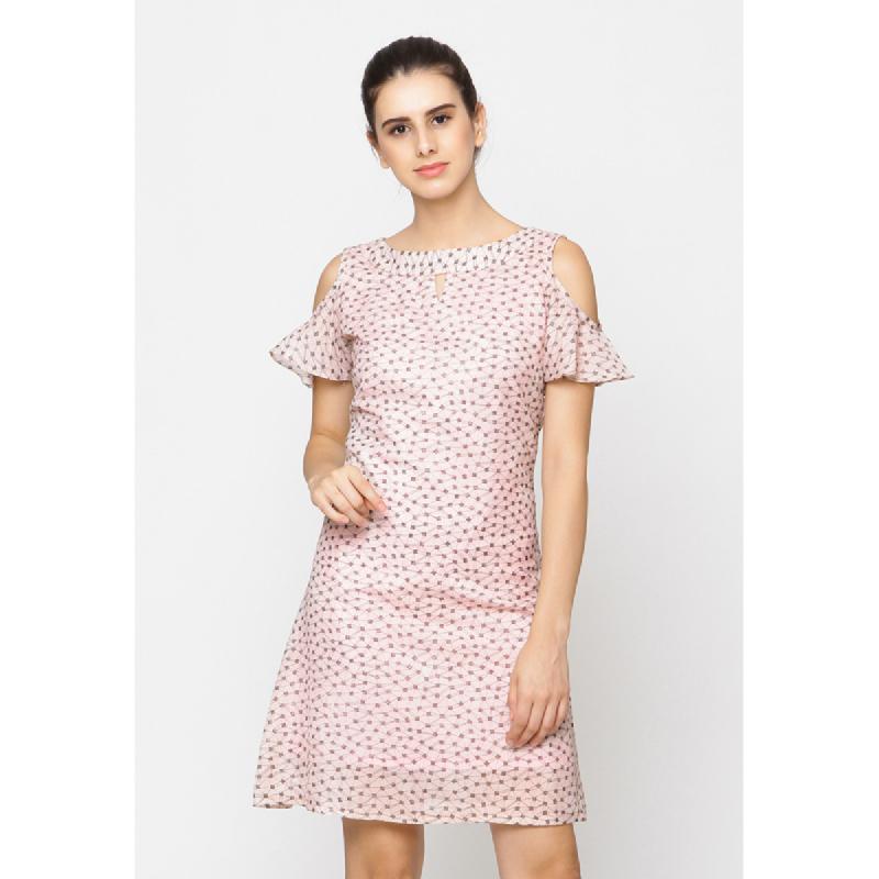 Agatha Pink Cold Shoulder Ruffle Dress Pink