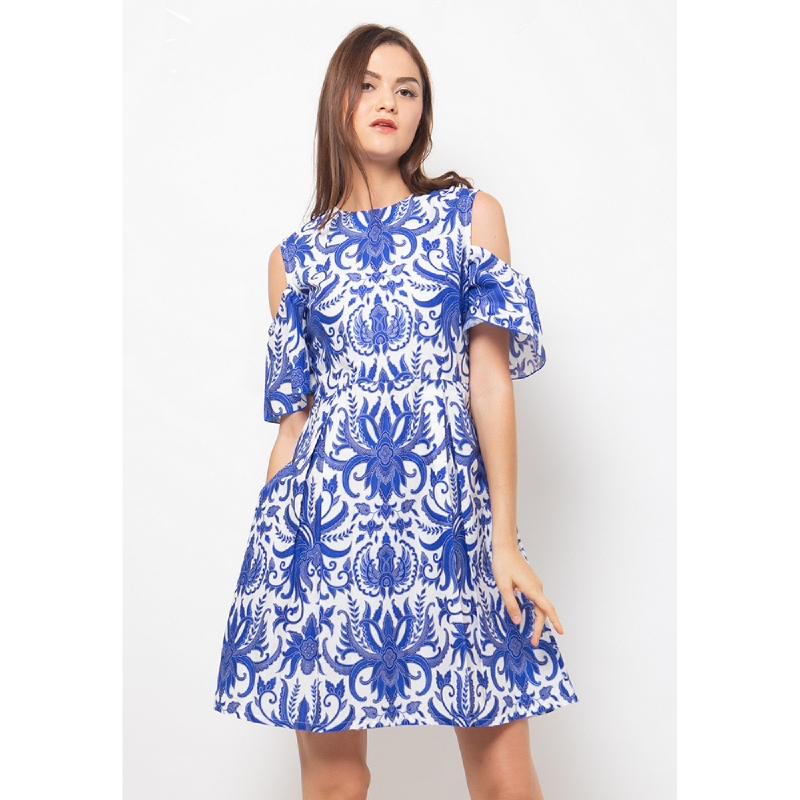 Aksa Batik Beatrice Adelia Dress Blue