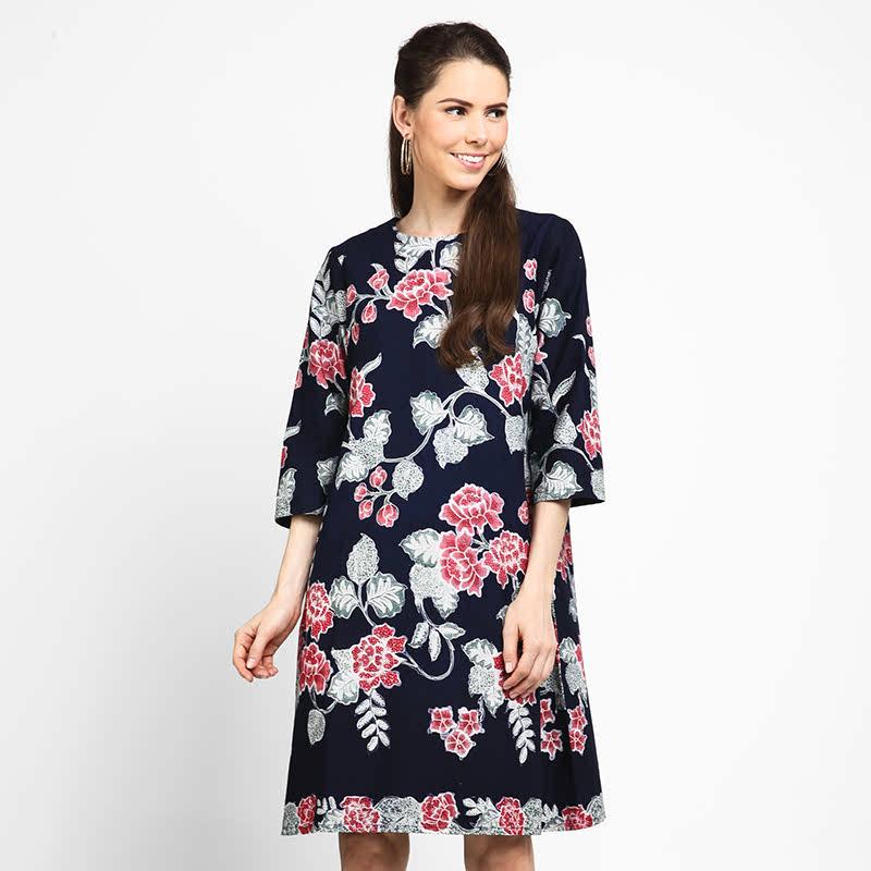 Astari Batik Dress Encim Navy Flower