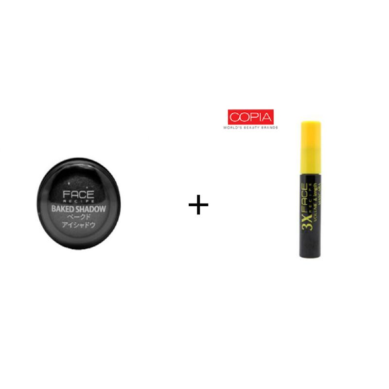 Face Recipe Baked Shadow Dark Grey + Face Recipe 3X Volume & Length Mascara Black