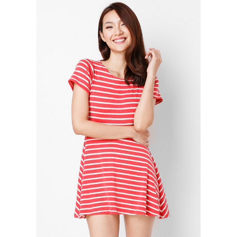 Lovadova Triangle Back Stripe Dress Red