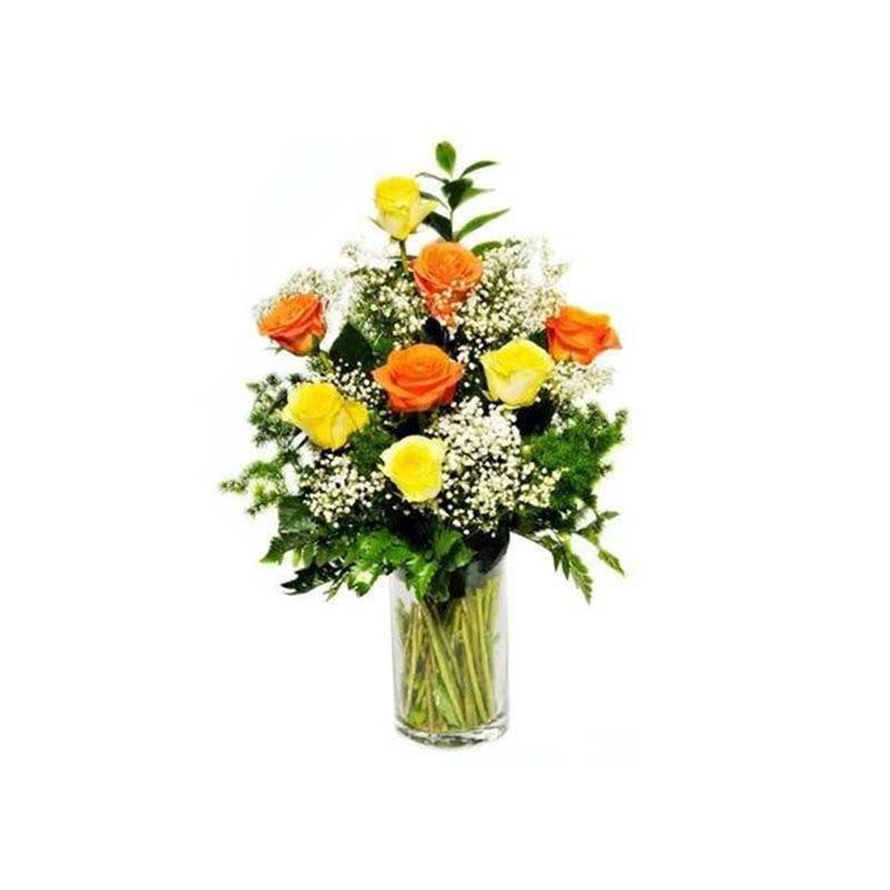 Outerbloom - 12 Orange And Yellow Roses In A Vase