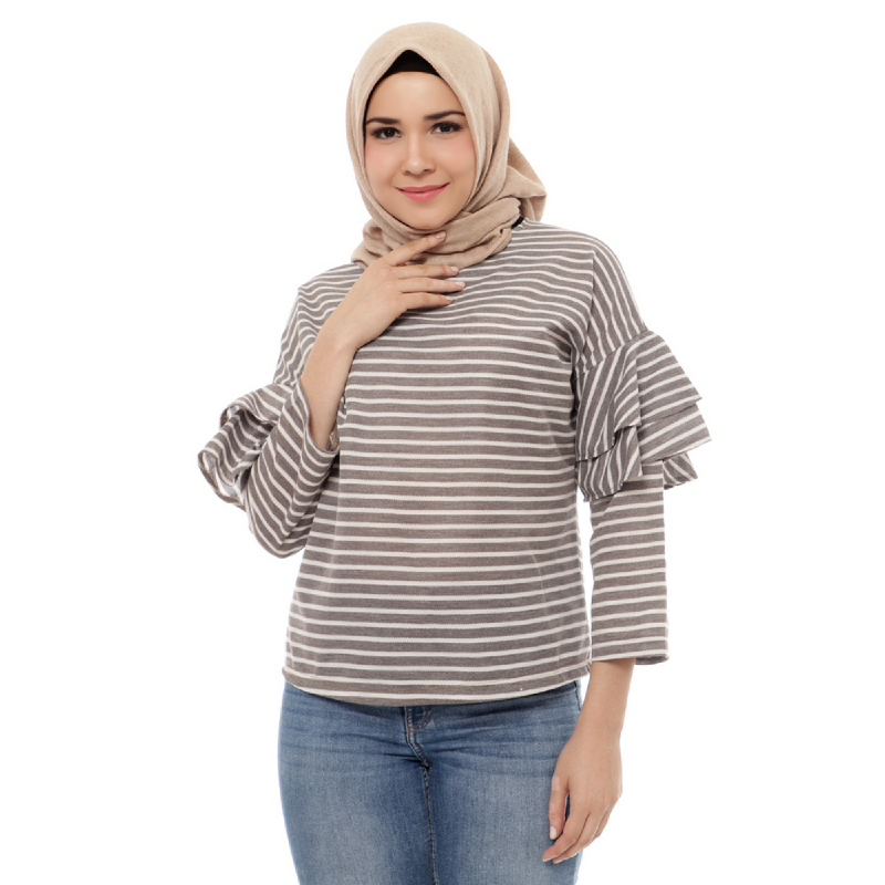 Mybamus Double Hand Bell Striped Top Mocca M14848 R23S4