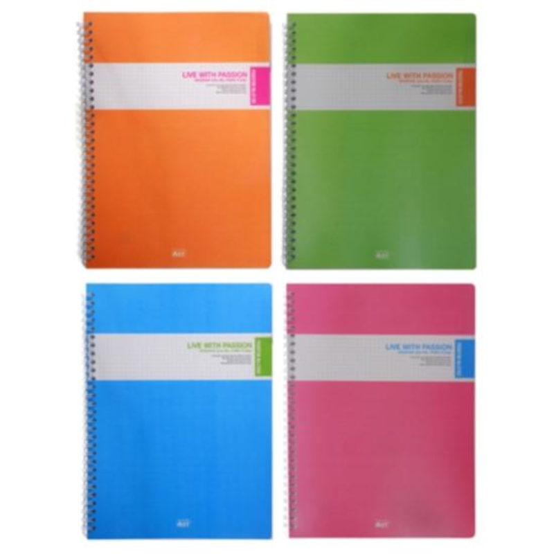 Alpha Spring Notebook Pp Clear 2000 190 X 260Mm Pink