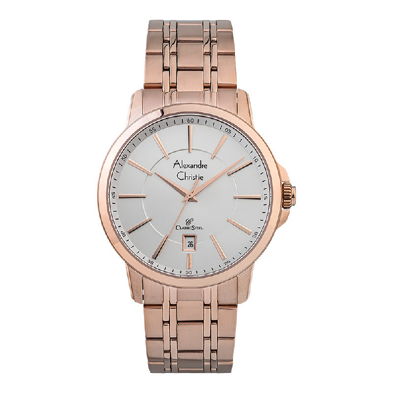 Alexandre Christie Classic Steel AC 8636 MD BRGSL Men Silver Dial Rose Gold Stainless Steel Strap