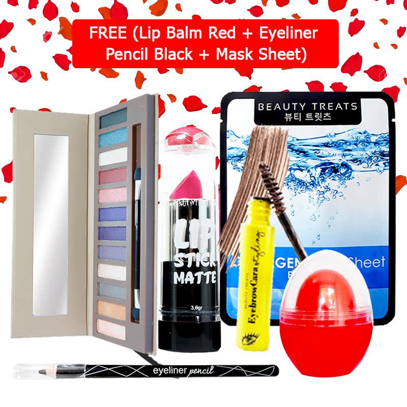 Beauty Treats Make Up Set B (Naked Eyeshadow No. 2 + Lipstick No. 7 + Eyebrowcara Dark Brown) FREE Kiss Me Lip Balm Red + Eyeliner Pencil Black + Mask Sheet Collagen