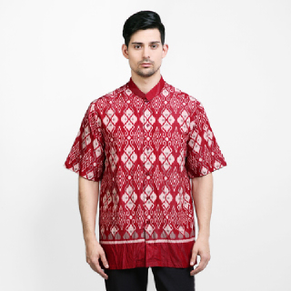 Arjuna Weda Baju Koko Batik Tenun Lombok Merah