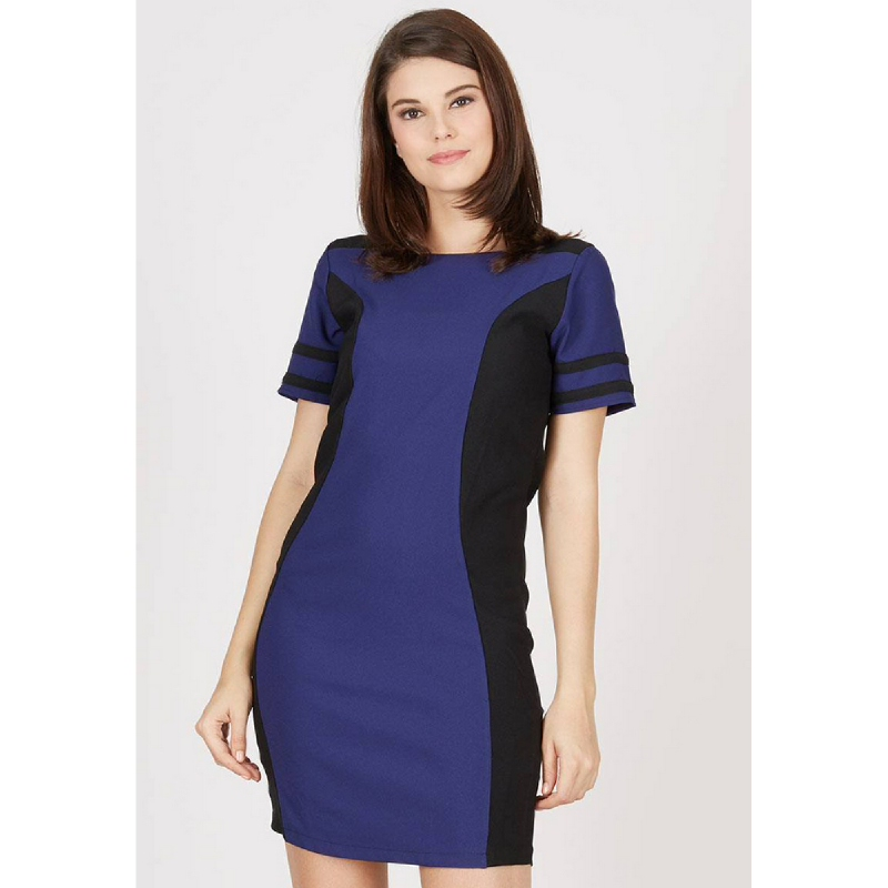 Lovadova Cobalt Polyester Dress With Black Accent Blue