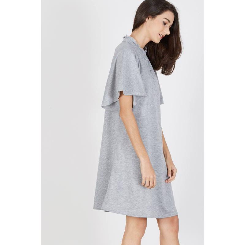 Patti Raglan Frill Dress Grey