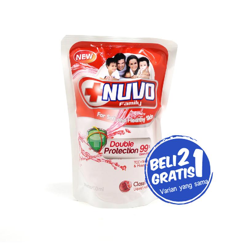 Nuvo Body Foam Classic Merah Pouch 450Ml (Buy 2 Get 1)