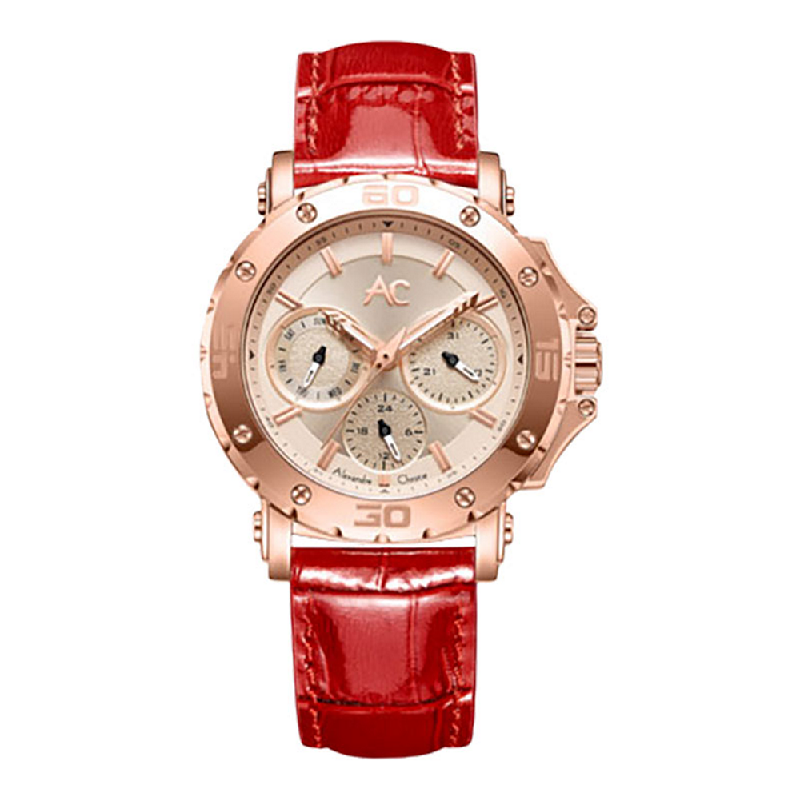 Alexandre Christie AC 9205 BFLRGLNRE LadiesRose Gold Dial Red Leather Strap