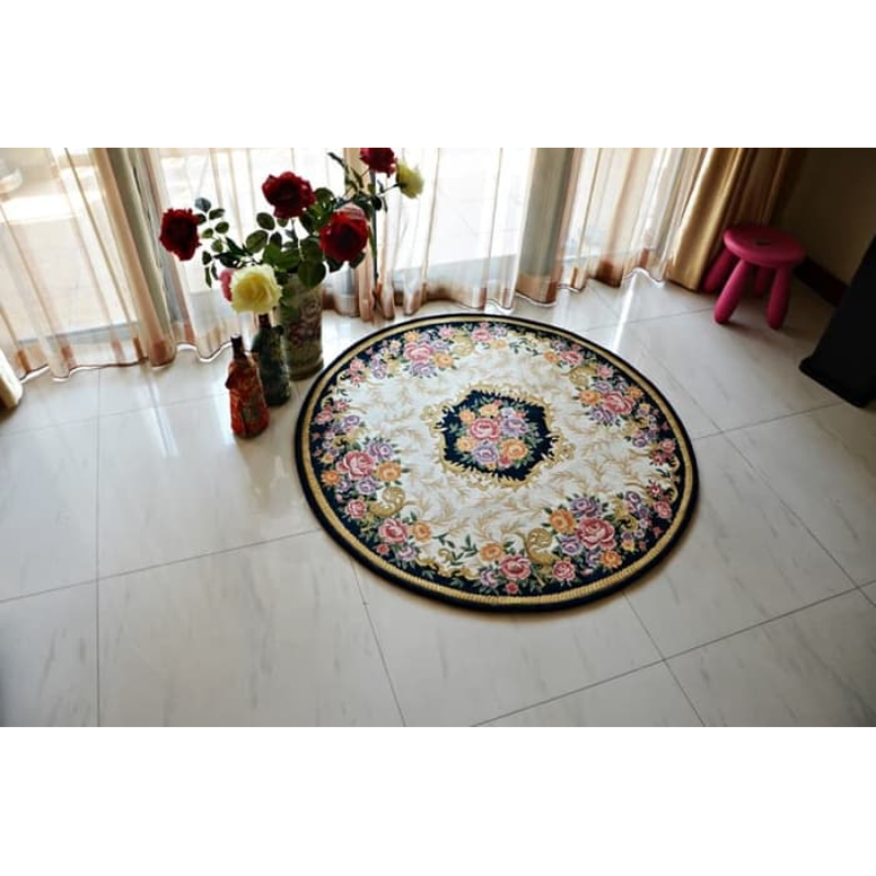 Karpet clara european round bulat empuk lembut 120x120 cm - Navy