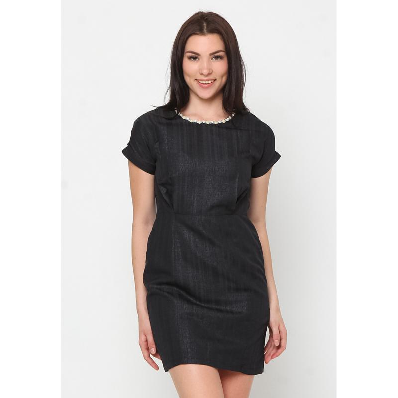 Agatha Pearl Detailed Skater Dress Black