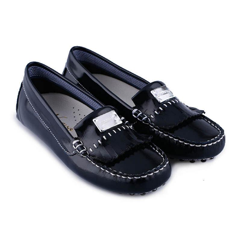 Aixaggio Chelsea Black patent Sepatu anak