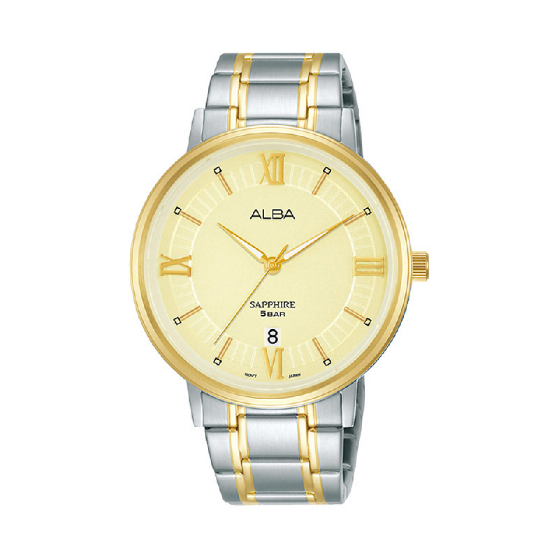 Alba AS9L24X1 Men Light Gold Patterned Dial Dual Tone Stainless Steel Strap