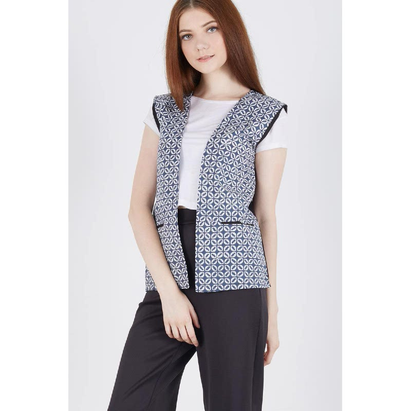 Shirlene Batik Vest Blue