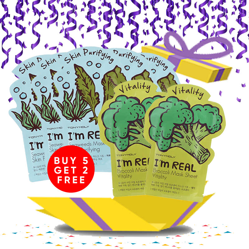 Tony Moly Bundle 5pcs I Am Real Seaweeds Mask Sheet Skin Purifying + 2pcs Brokolli Mask Sheet Vitality