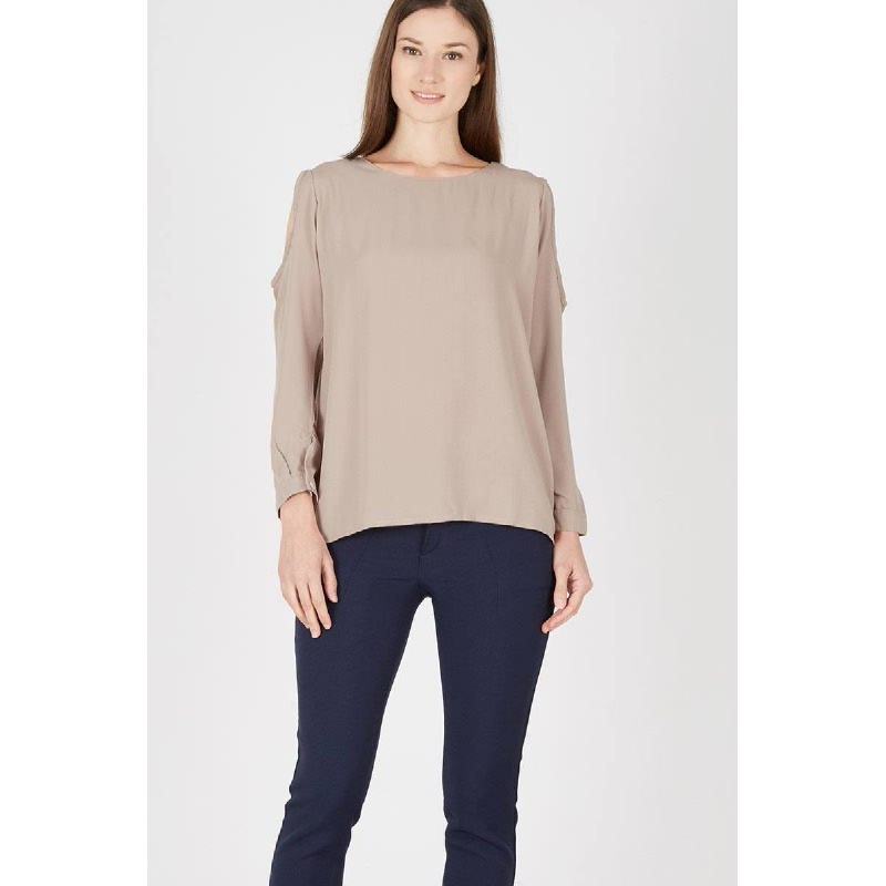 Hani Beige Open Sleeve Top