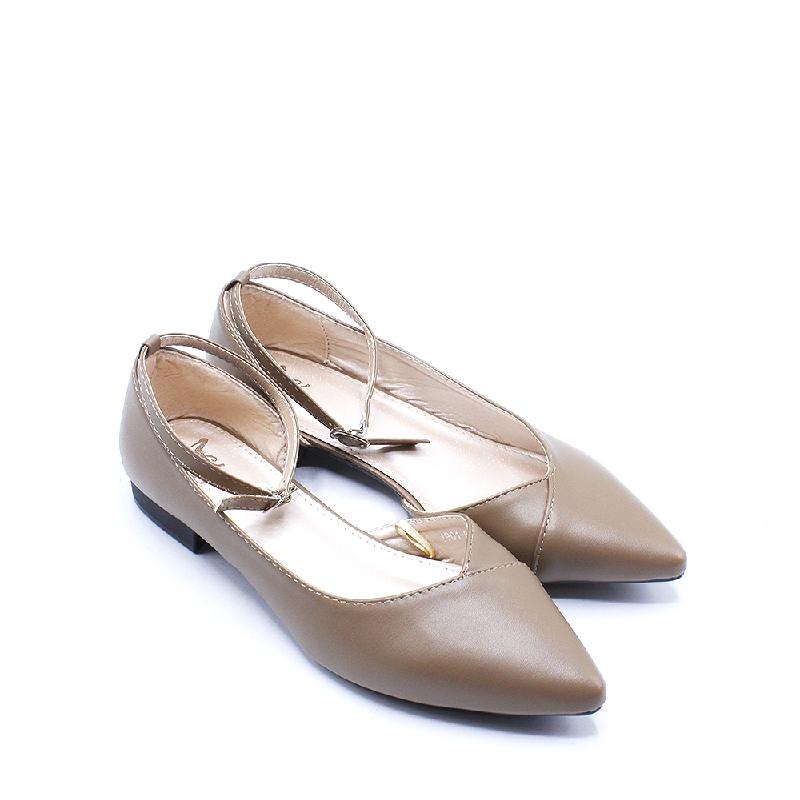 DEA Pointed Cutout Flat Shoes 1808-038 Khaki